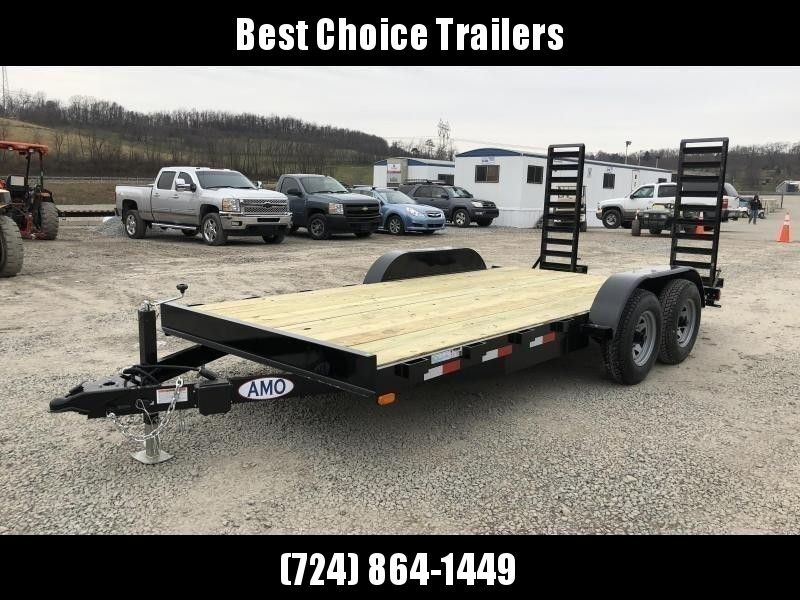 """2021 AMO 7x16' Equipment Trailer 9990# GVW * ALL LED LIGHTS * STAND UP RAMPS * BEAVERTAIL * STACKED 5"""" CHANNEL TONGUE/FRAME * DROP LEG JACK * REMOVABLE FENDERS"""