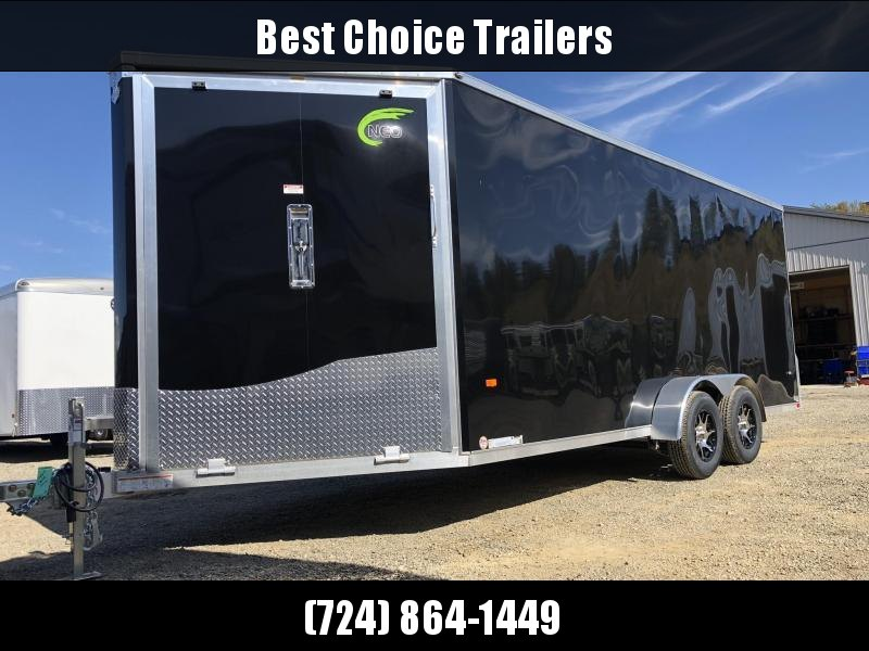 "2021 Neo 7x22' NASF Aluminum Enclosed All-Sport Trailer 7000# GVW * 7' HEIGHT UTV PKG * BLACK EXTERIOR * FRONT/REAR NXP RAMP * VINYL WALLS * SPORT TIE DOWN SYSTEM * 16"" O.C. FLOOR * PRO STAB JACKS * UPPER CABINET * ALUMINUM WHEELS * SCREWLESS * 1 PC ROOF"