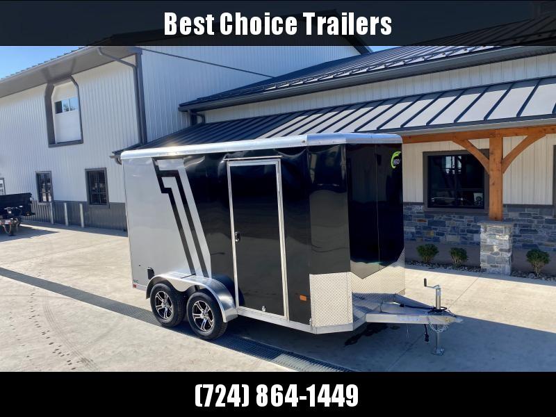 "2022 NEO 7x12' NAC Aluminum Bullnose Enclosed Cargo Trailer  * 7' HEIGHT UPG * JD SLASH 2-TONE * BLACK + SILVER * ALUMINUM WHEELS * 16"" O.C. WALLS/CEILING * RAMP DOOR"