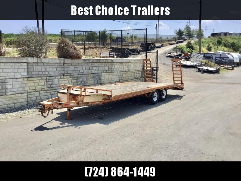 USED 2013 Hudson Brothers 8x21' Deckover Trailer 10000# GVW * DROP LEG JACK * ADJUSTABLE PINTLE COUPLER * TOOLBOX * STAND UP RAMPS * RUBRAIL/STAKEPOCKET
