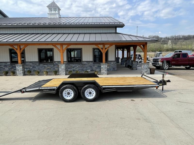 "2021 Corn Pro 7x18' Wood Deck Car Hauler 9900# GVW * REAR SLIDE OUT RAMPS * DIAMOND PLATE FENDERS * RUNNING BOARDS * RUBRAIL/STAKE POCKETS/CHAIN SPOOLS * DEMCO EZ LATCH COUPLER * CHAIN TRAY * DIAMOND PLATE DOVETAIL * URETHANE PAINT * 16"" O.C. C/M"