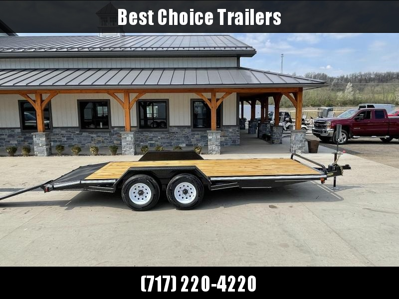 """2022 Corn Pro 7x18' Wood Deck Car Hauler 9900# GVW * REAR SLIDE OUT RAMPS * DIAMOND PLATE FENDERS * RUNNING BOARDS * RUBRAIL/STAKE POCKETS/CHAIN SPOOLS * DEMCO EZ LATCH COUPLER * CHAIN TRAY * DIAMOND PLATE DOVETAIL * URETHANE PAINT * 16"""" O.C. C/M"""