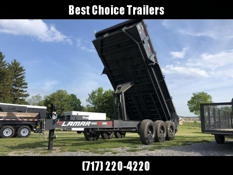 "2021 Lamar 7x16' Dump Trailer 21000# GVW * OVERSIZE 6X21.5 11-TON SCISSOR HOIST * 7GA FLOOR * JACKSTANDS * TARP KIT * CHARCOAL * RIGID RAILS * NESTLED I-BEAM FRAME 28"" H * 12"" O.C. C/M * 3-WAY GATE * HD COUPLER"