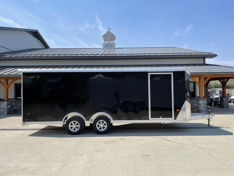 2021 NEO 8.5x24' NACX Aluminum Enclosed Car Hauler Trailer 9990# GVW * BLACK EXTERIOR * ESCAPE DOOR * 5200# TORSION * BULLNOSE * SPREAD AXLE * DRT REAR SPOILER * NXP RAMP * ROUND TOP * HD FRAME * ALUMINUM WHEELS * RV DOOR * 1 PC ROOF