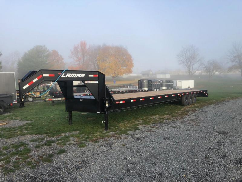 "2021 Lamar 102x40' Gooseneck Beavertail Deckover Trailer 21000# GVW * FULL WIDTH (STAND UP OR FLIPOVER) RAMPS * 12"" I-BEAM FRAME * FRONT TOOLBOX * DUAL JACKS * BLACK * 16"" O.C. C/M * RUBRAIL/STAKE POCKETS/PIPE SPOOLS * 4X8"" TUBE BUMPE"