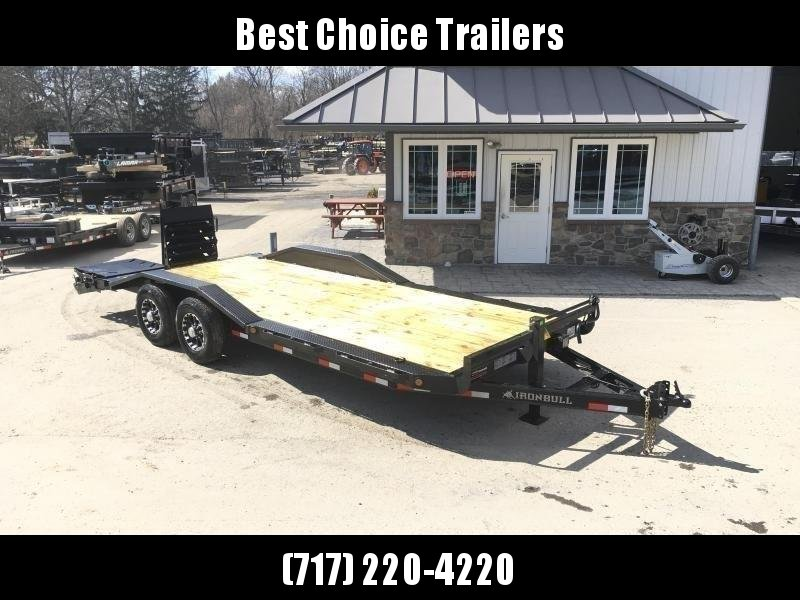 "2021 Ironbull 102""x22' Wood Deck Car Trailer 14000# GVW * FULL WIDTH RAMPS * 102"" DECK * DRIVE OVER FENDERS * BUGGY HAULER"