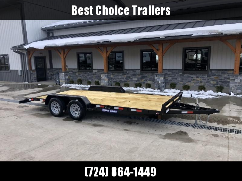 2022 Sure-Trac 7x18 Wood Deck Car Hauler 7000# GVW * REAR SLIDE OUT PUNCH PLATE FINGERJOINTED RAMPS * DIAMOND PLATE FENDERS * SEALED WIRING HARNESS * SET BACK JACK * STAKE POCKETS/D-RINGS * DIAMOND PLATE DOVETAIL