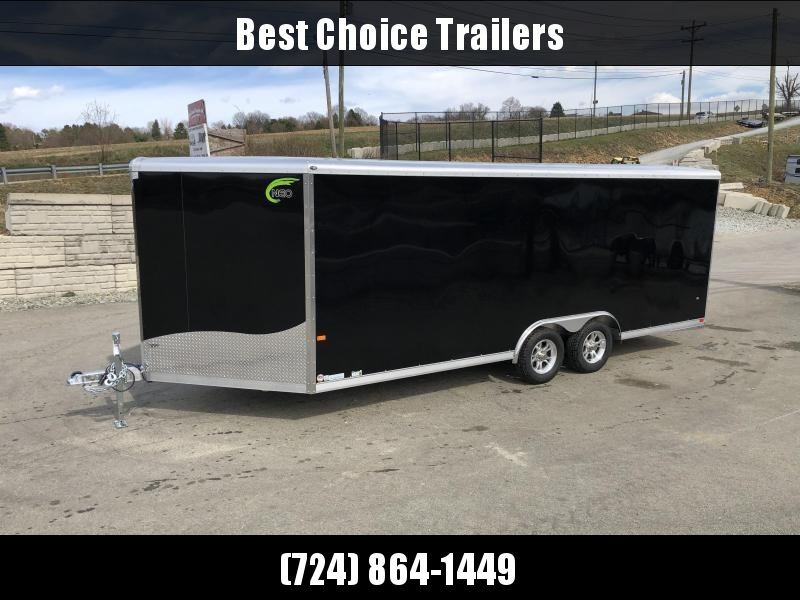 2019 NEO 8.5x18' Aluminum Enclosed Car Hauler Trailer 7000# * ROUND TOP * NXP RAMP * ALUMINUM WHEELS * BLACK