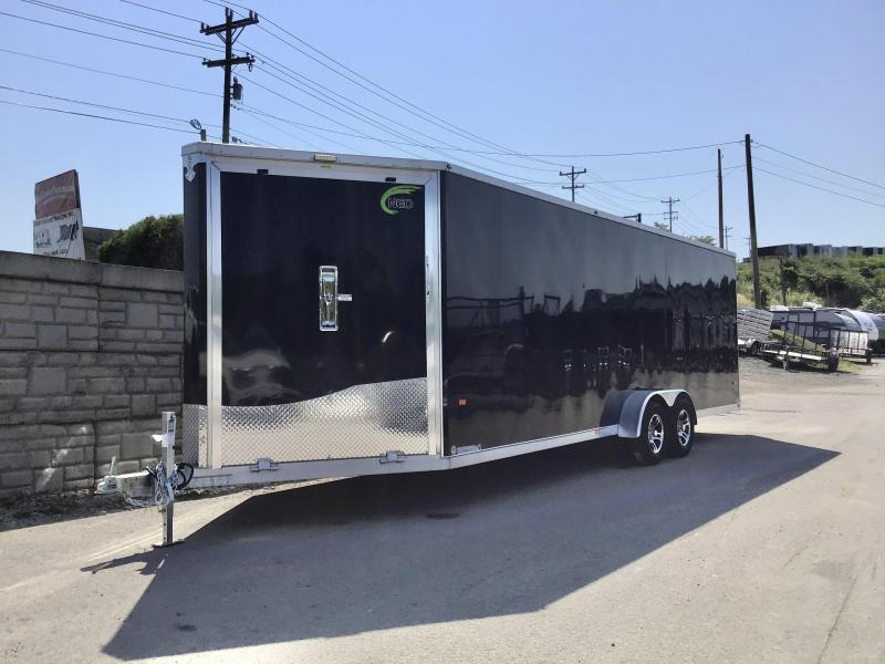 "2020 Neo 7x28' NASF Aluminum Enclosed All-Sport Trailer 7000# GVW * 7' HEIGHT UTV PKG * BLACK EXTERIOR * FRONT/REAR NXP RAMP * VINYL WALLS * SPORT TIE DOWN SYSTEM * 16"" O.C. FLOOR * PRO STAB JACKS * UPPER CABINET * ALUMINUM WHEELS * SCREWLESS * 1 PC RO"