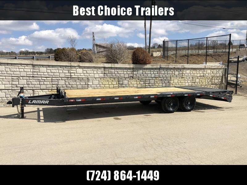 """2021 Lamar 102x22' Beavertail Deckover Trailer 14000# GVW * FULL WIDTH (FLIPOVER OR STAND UP) RAMPS + SPRING ASSIST  * CHARCOAL * TOOL TRAY * HD COUPLER * I-BEAM FRAME * 16"""" O.C. C/M * RUBRAIL/STAKE POCKETS/PIPE SPOOLS"""