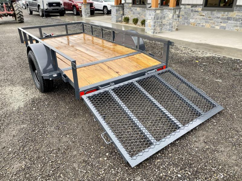 "2021 Lamar 5x10' Utility Landscape Trailer 2990# GVW * CHARCOAL * CAST COUPLER * SEALED COLD WEATHER HARNESS * 4"" CHANNEL FULL WRAP TONGUE * STAKE POCKET TIE DOWNS * 2X2"" 3' TUBE GATE * SPRING ASSIST GATE * SWVIEL JACK * 2' DOVETAIL"