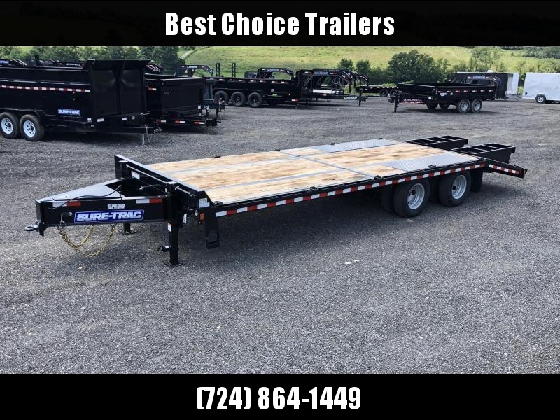"2020 Sure-Trac 102x28' HD Beavertail Deckover Trailer 22500# GVW * FULL WIDTH RAMPS * PAVER SPECIAL * OAK BEAVERTAIL/DECK/RAMPS * DEXTER AXLES * DUAL JACKS * INTEGRATED TOOLBOX * 12"" I-BEAM * PIERCED FRAME * (10) 1"" D-RINGS * CROSS TRAC BRACING"