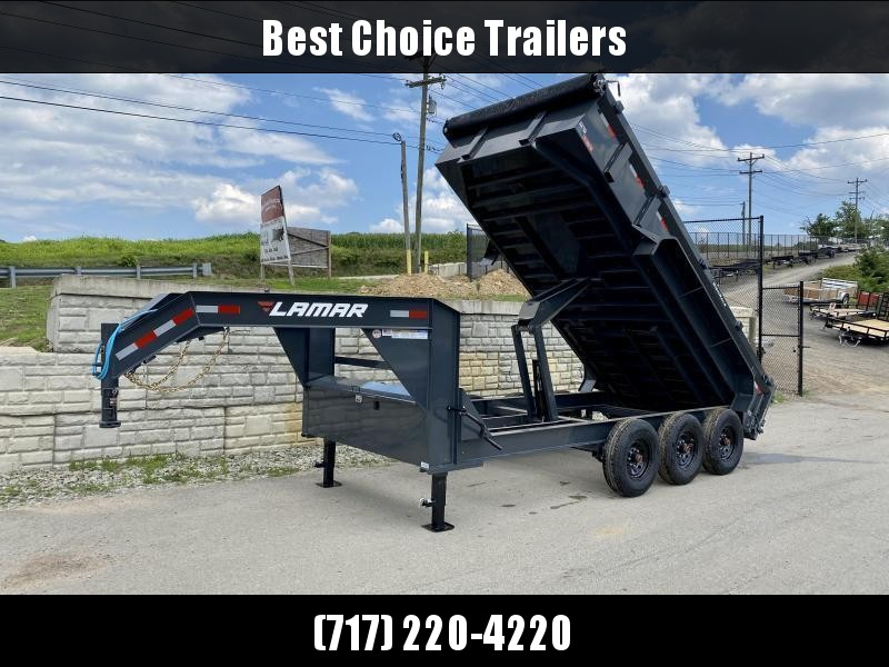 "2021 Lamar 7x16' Gooseneck Dump Trailer 21000# GVW * DUAL JACKS * FULL TOOLBOX * OIL BATH * REAR JACKSTANDS * 7GA FLOOR * TRIPLE AXLE * TARP KIT * OVERSIZE 6X21.5"" SCISSOR HOIST * CHARCOAL * RIGID RAILS * NESTLED I-BEAM FRAME 28"" H * 12"" O.C. C/M"
