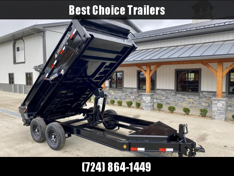 "2021 Ironbull 7x12' Dump Trailer 14000# GVW * 7 GA FLOOR * TARP KIT * SCISSOR HOIST * STACKED I-BEAM FRAME * 6"" TUBE BEDFRAME * 10 GA WALLS W/ KEYWAY * COMBO GATE * UNDERBODY BED RUNNERS * DEXTER AXLES * 2-3-2 WARRANTY * CLEARANCE"