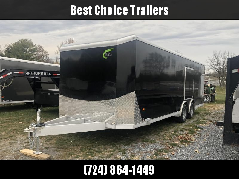 2021 NEO 8.5x24' NACX Aluminum Enclosed Car Hauler Trailer 9990# GVW * BLACK EXTERIOR * FULL ESCAPE DOOR * 5200# TORSION * BULLNOSE * SPREAD AXLE * DRT REAR SPOILER * NXP RAMP * ROUND TOP * HD FRAME * ALUMINUM WHEELS * RV DOOR * 1 PC ROOF