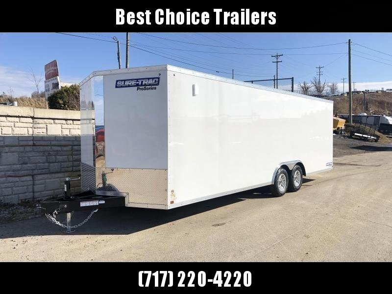 "2021 Sure-Trac 8.5x20' Pro Series Enclosed Car Hauler Trailer 9900# GVW * TORSION AXLES * BACKUP LIGHTS * WHITE EXTERIOR * V-NOSE * RAMP * 5200# AXLES * .030 SCREWLESS EXTERIOR * ALUMINUM WHEELS * 1 PC ROOF * 6"" FRAME * 16"" O.C. C/M * PLYWOOD * TUBE STUDS"