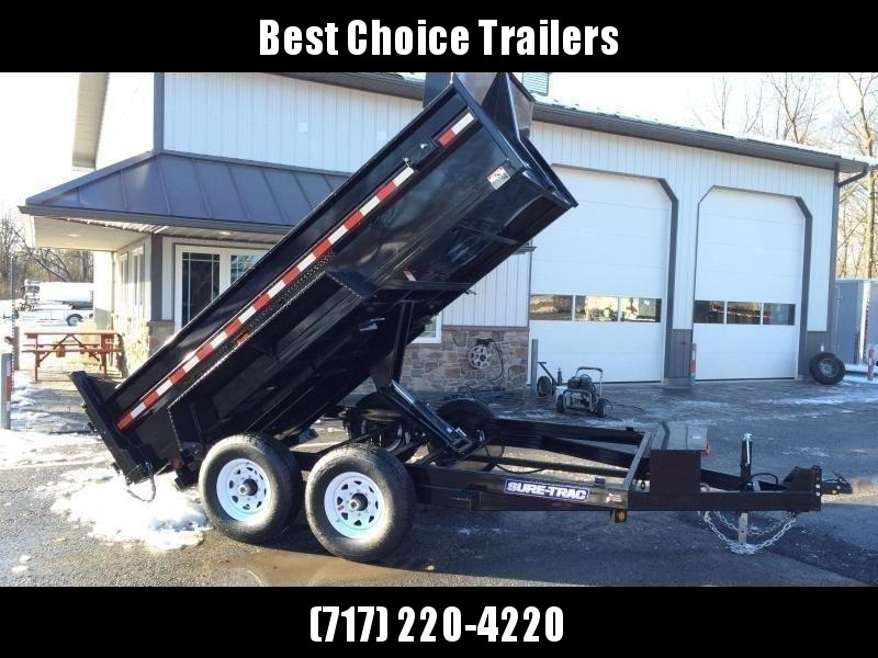 2021 Sure-Trac 7x12' Dump Trailer 12000# GVW * DELUXE TARP KIT * SCISSOR HOIST * FRONT/REAR BULKHEAD * INTEGRATED KEYWAY * 2' SIDES * UNDERBODY TOOL TRAY * ADJUSTABLE COUPLER * 110V CHARGER * UNDERMOUNT RAMPS * COMBO GATE * 7K DROP LEG JACK