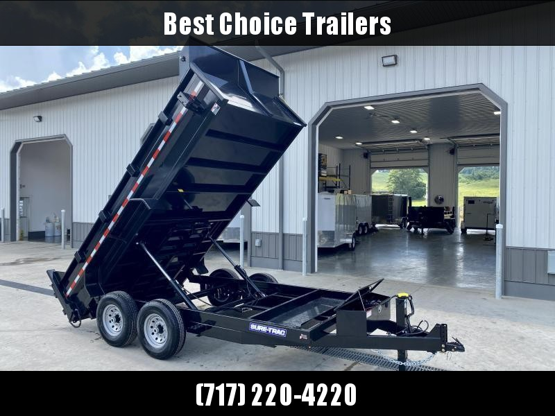 2022 Sure-Trac 7x14' Dump Trailer 14000# GVW * 12K JACK * DELUXE TARP KIT * DUAL PISTON * FRONT/REAR BULKHEAD * INTEGRATED KEYWAY * 2' SIDES * UNDERBODY TOOL TRAY * ADJUSTABLE COUPLER * 110V CHARGER * UNDERMOUNT RAMPS * COMBO GATE * CLEARANCE
