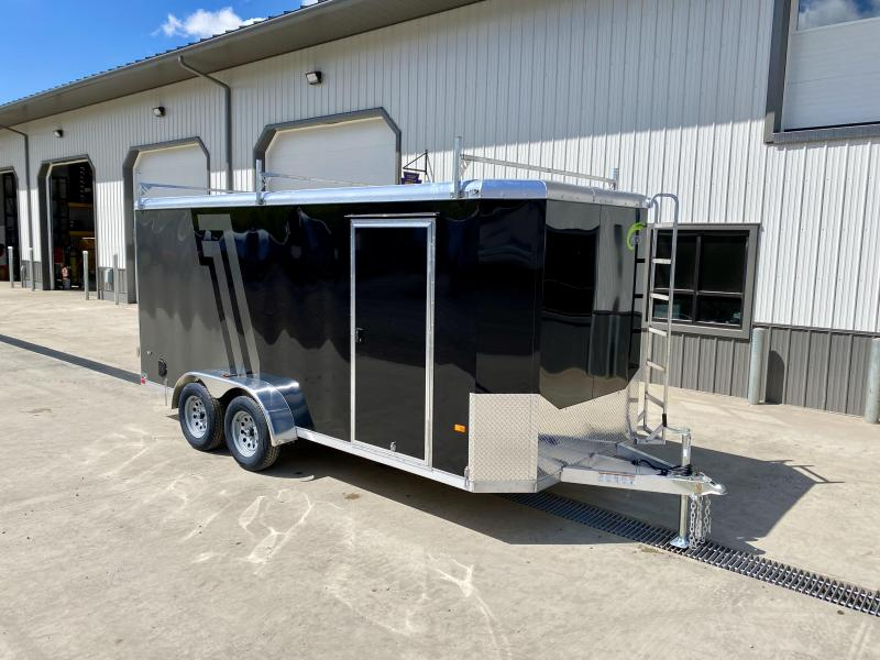 "2021 NEO 7x16' NAC Aluminum Bullnose Enclosed Cargo Trailer  * 7' HEIGHT UPG * JD SLASH 2-TONE * LADDER RACKS AND ACCESS LADDER * BLACK AND SILVER * ALUMINUM WHEELS * 16"" O.C. WALLS/CEILING * BARN DOORS"