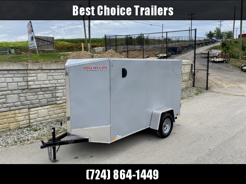 USED 2019 Discovery Trailers 5x10' Enclosed Cargo Trailer 2990# GVW * SILVER EXTERIOR * RAMP DOOR * V-NOSE * BULLET LED'S