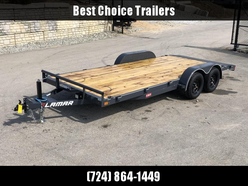 "2021 Lamar 7x18 7000# Wood Deck Car Hauler Trailer * ADJUSTABLE COUPLER * DROP LEG JACK * REMOVABLE FENDERS * EXTRA STAKE POCKETS * CHARCOAL * 4 D-RINGS * 5"" CHANNEL FRAME * COLD WEATHER HARNESS * REAR RAMPS"