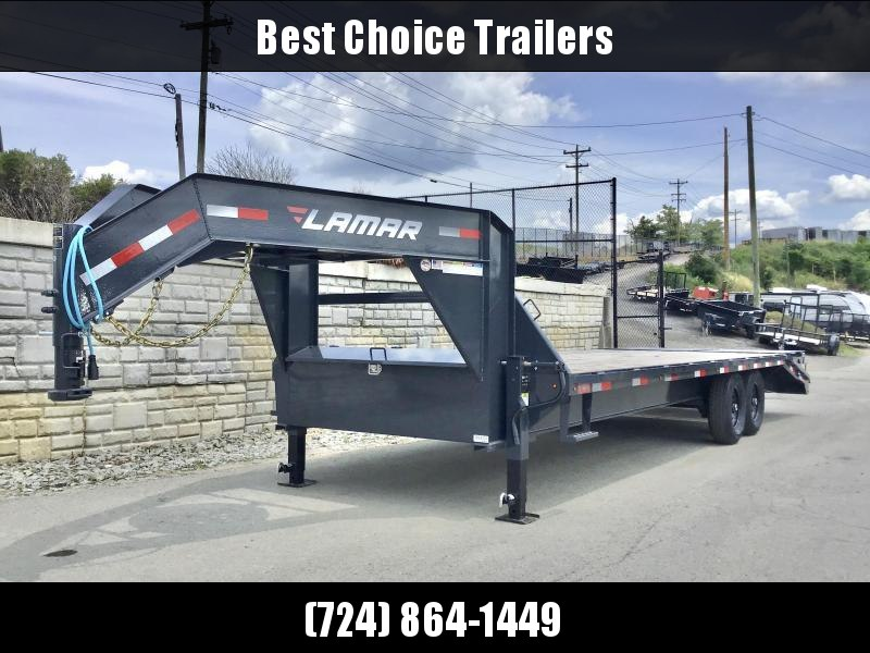 "2020 Lamar Trailers 102x25' HD Gooseneck Deckover Trailer 14000# GVW * 12"" I-BEAM * FULL WIDTH RAMPS * FRONT TOOLBOX * DUAL JACKS * CHARCOAL"