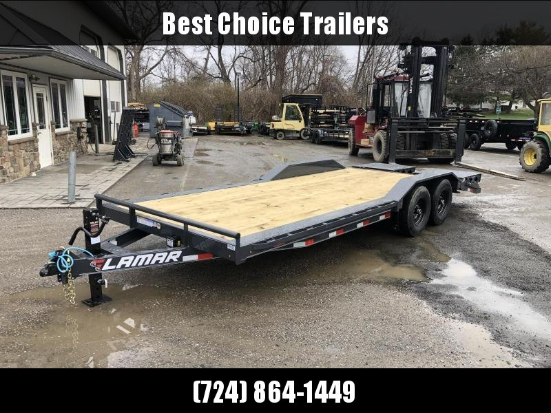 """2021 Lamar 102x24' Equipment Trailer 14000# GVW * FULL WIDTH RAMPS * 102"""" DECK * DRIVE OVER FENDERS * CHARCOAL * D-RINGS * 8IN FRAME UPGRADE"""