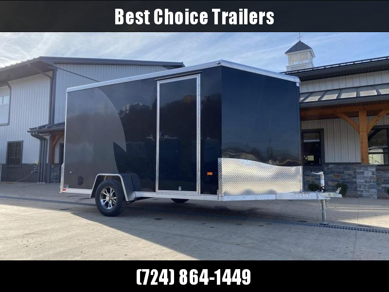 "2021 Neo 7x12 NAMR Aluminum Enclosed Motorcycle Trailer SINGLE AXLE 2990# GVW * BLACK/CHARCOAL * VINYL WALLS * ALUMINUM WHEELS * +12"" HEIGHT UTV SPORTS PACKAGE"