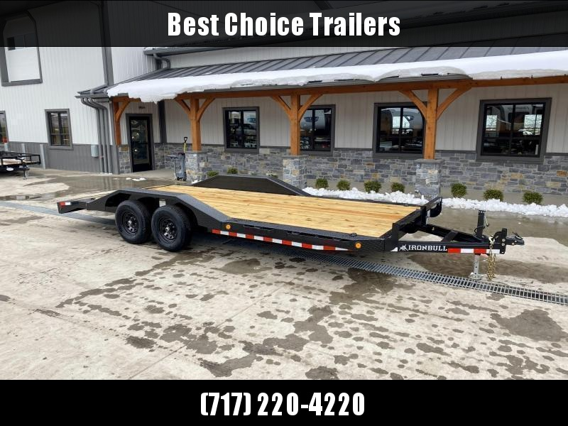 """2022 Ironbull 102""""x22' Buggy Hauler Car Trailer 9990# GVW * 102"""" DECK * DRIVE OVER FENDERS * 16"""" O.C. FLOOR * 5"""" CHANNEL TONGUE/FRAME * CHANNEL C/M * RUBRAIL/STAKE POCKETS/PIPE SPOOLS/D-RINGS * ADJUSTABLE COUPLER * DROP LEG JACK * DEXTER'S"""