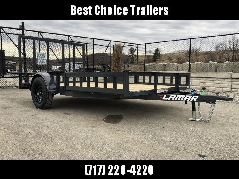 "2021 Lamar 7x12' ATV Utility Landscape Trailer 2990# GVW * ATV RAMPS * CHARCOAL * CAST COUPLER * SEALED COLD WEATHER HARNESS * 4"" CHANNEL FULL WRAP TONGUE * STAKE POCKET TIE DOWNS * 2X2"" TUBE GATE C/M * SPRING ASSIST GATE * SWVIEL JACK"