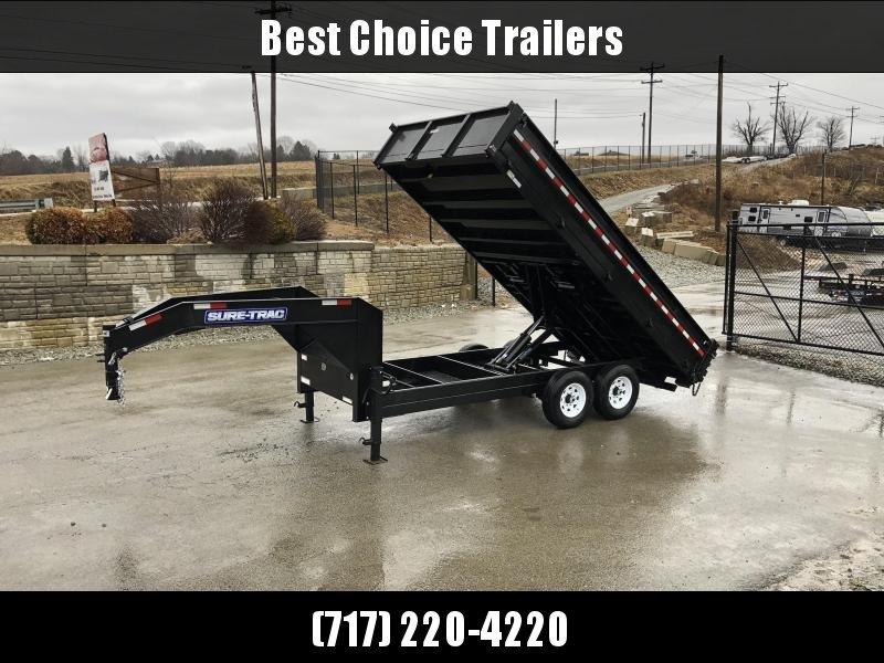 2021 Sure-Trac 8x16' HD Gooseneck Deckover Dump Trailer 14000# GVW * FOLD DOWN SIDES * I-BEAM NECK * FULL TOOLBOX