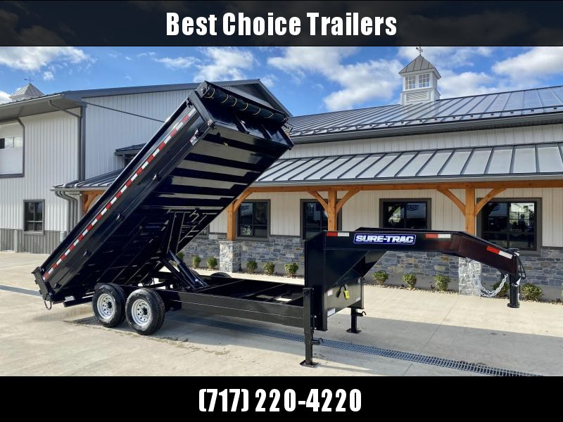 2021 Sure-Trac 8x16' HD Gooseneck Deckover Dump Trailer 14000# GVW * FOLD DOWN SIDES * I-BEAM NECK * FULL TOOLBOX * CLEARANCE