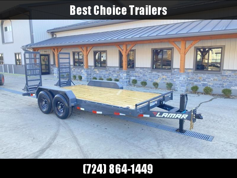 2021 Lamar 7x18' Equipment Trailer 14000# GVW * DELUXE OVERWIDTH RAMPS W/ HEAVY MESH * CHARCOAL POWDERCOAT * RUBRAIL/STAKE POCKETS/PIPE SPOOLS/D-RINGS * REM FENDERS * 12K JACK * CAST COUPLER * SPRING ASSIST * COLD WEATHER HARNESS * DIA PLATE DOVETAIL