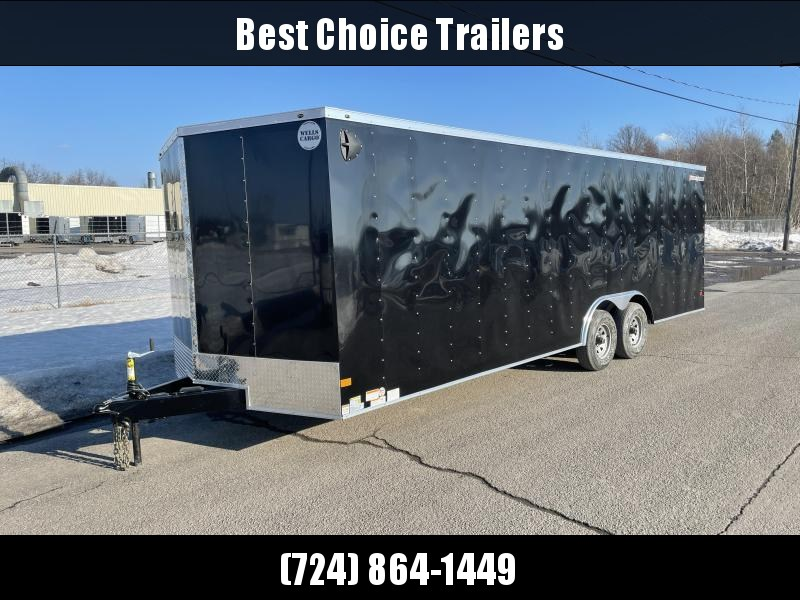 "2021 Wells Cargo 8.5x24' Fastrac DELUXE Enclosed Cargo Trailer 9990# GVW * BLACK EXTERIOR * 5200# AXLES * RAMP DOOR * V-NOSE * .030 EXTERIOR * 6'6"" HEIGHT * TUBE STUDS * 3/8"" WALLS * 1 PC ROOF * 16"" O.C. WALLS * BULLET LED'S"