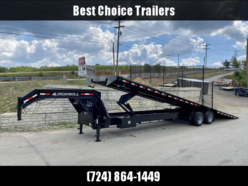 "2019 Iron Bull 102x36' Gooseneck Deckover Power Tilt Flatbed Trailer 22000# GVW * SCISSOR HOIST * 12"" I-BEAM BEDFRAME * UNDER FRAME BRIDGE * TOOLBOX * DUAL JACKS * OIL BATH HUBS * RUBRAIL/STAKE POCKETS/PIPE SPOOL/D-RINGS * CLEARANCE"