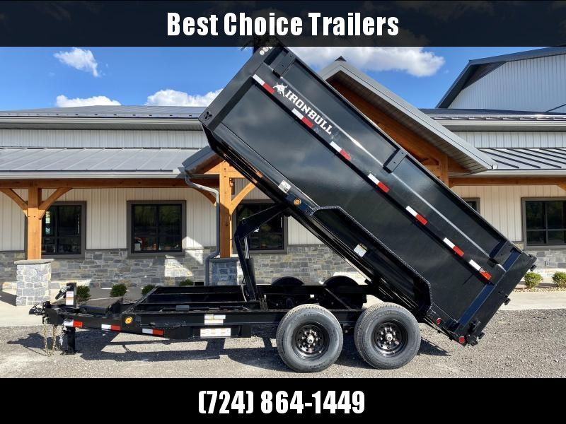 2021 Ironbull 7x14' High Side Dump Trailer 14000# GVW * HYDRAULIC JACK * 7 GA FLOOR * RAMPS * TARP KIT * SCISSOR HOIST * SPARE MOUNT * 4' SIDES