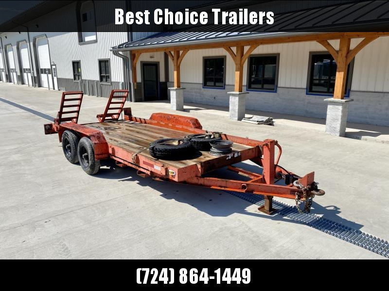 USED Custom Fab 6.5x16' Equipment Trailer 11825# GVW * STAND UP RAMPS * ADJUSTABLE PINTLE COUPLER * STAKE POCKETS * 12K DROP LEG JACK * SPARE TIRES