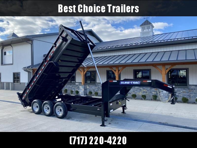 2022 Sure-Trac 7x16' 21000# Low Profile HD GOOSENECK Dump Trailer * TELESCOPIC HOIST * TRIPLE AXLE * DELUXE TARP KIT