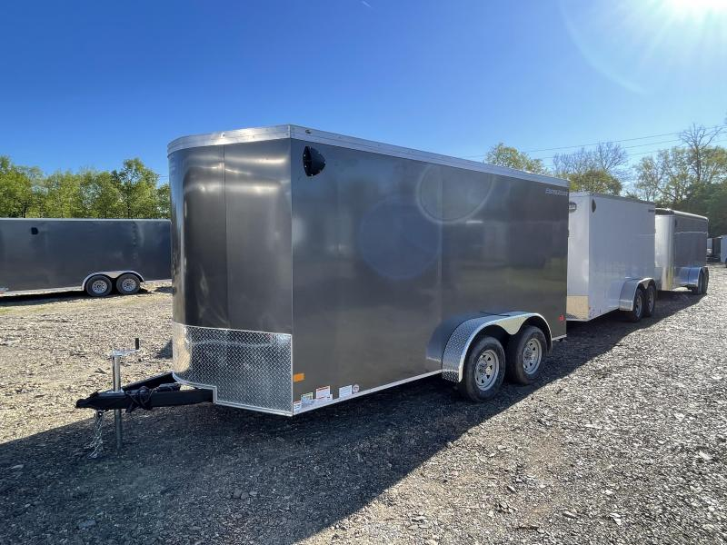 "2021 Wells Cargo 7x14' Enclosed Motorcycle Trailer 7000# GVW * CHARCOAL EXTERIOR * 6'6"" INTERIOR HEIGHT * D-RINGS * SCREWLESS * STABILIZER JACKS * WHEEL CHOCK * TRANSITION PLATE * RAMP DOOR * RV DOOR * CLEARANCE"