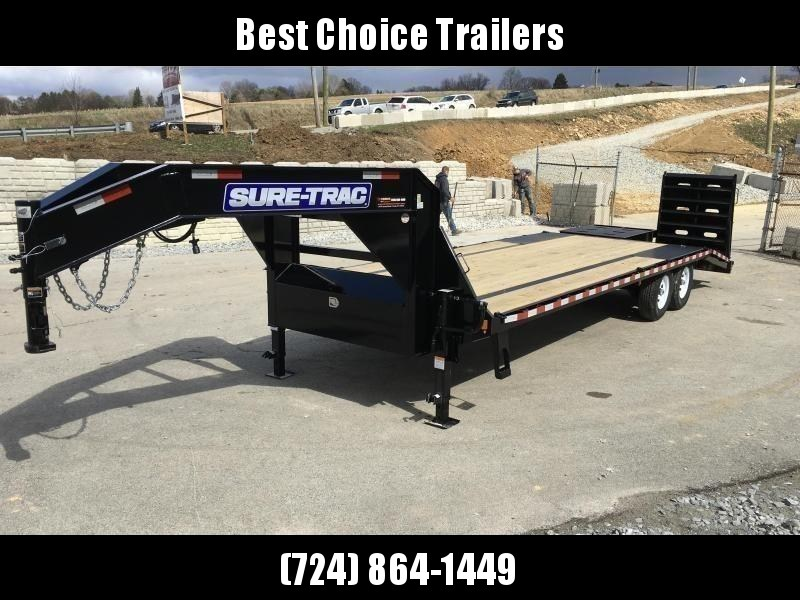 "2021 Sure-Trac 102x25' Gooseneck Beavertail Deckover Trailer 15000# GVW * FULL WIDTH RAMPS (STAND UP OR FLIPOVER) * DUAL 12K JACKS * FULL TOOLBOX * 12"" I-BEAM MAINFRAME * PIERCED FRAME * RUBRAIL/STAKE POCKETS/PIPE SPOOLS/10 D-RINGS * CROSS TRAC BRACING"