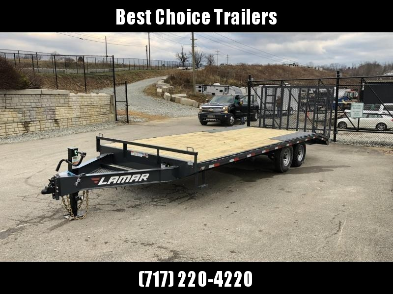 """2021 Lamar 102x24' Beavertail Deckover Trailer 16000# GVW * 8000# AXLES * 5' HD GATE W/ SUPPORT KNEE + SPRING ASSIST  * CHARCOAL * TOOL TRAY * HD COUPLER * I-BEAM FRAME * 16"""" O.C. C/M * RUBRAIL/STAKE POCKETS/PIPE SPOOLS * CHANNEL SIDE RAIL * 4X8"""" TUBE BUM"""