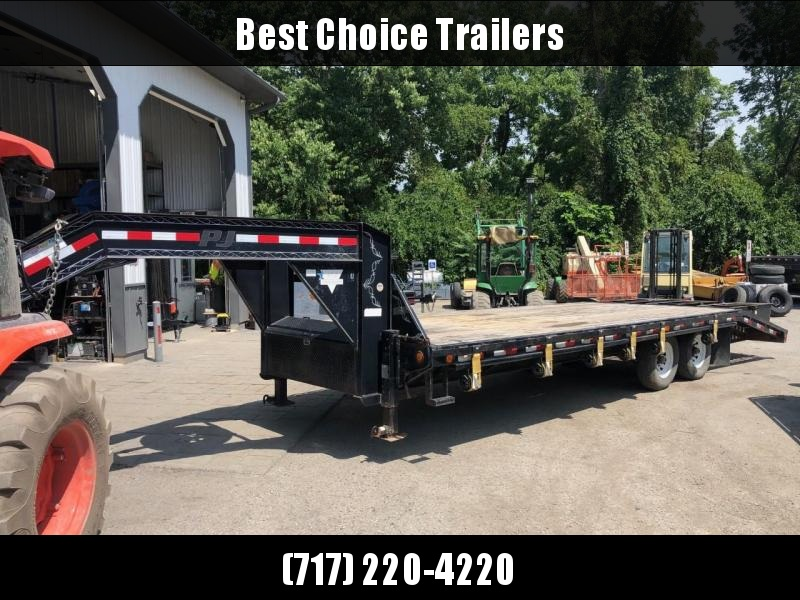 USED 2012 PJ 102x25' Gooseneck Beavertail Deckover 15680# GVW * SPARE TIRE * RATCHET TRACK & STRAPS * 3 FLIPOVER RAMPS * DUAL JACKS * FRONT TOOLBOX