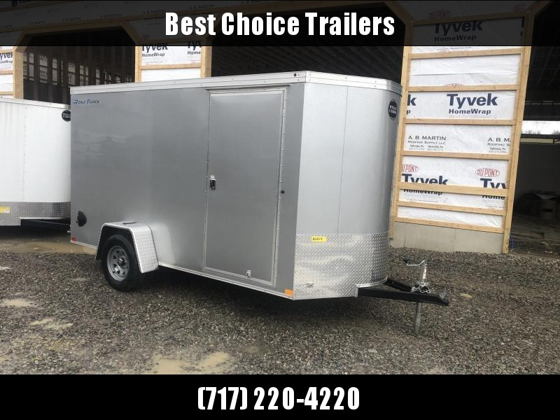 """2021 Wells Cargo 6x12' Road Force Enclosed Cargo Trailer 2990# GVW * SILVER EXTERIOR * RAMP DOOR * V-NOSE * SCREWLESS .030 EXTERIOR * 6'6"""" HEIGHT * TUBE STUDS * 1 PC ROOF * 16"""" O.C. C/M * ARMOR GUARD * RV DOOR * BULLET LED'S"""