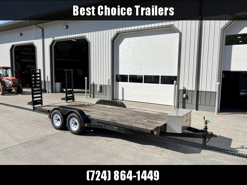 USED 2008 Top Brand 7x18' Equipment Trailer 9990# GVW * STRAIGHT DECK * STAND UP RAMPS * TOOLBOX * RUBRAIL/STAKE POCKETS * DIAMOND PLATE TEAR DROP FENDERS