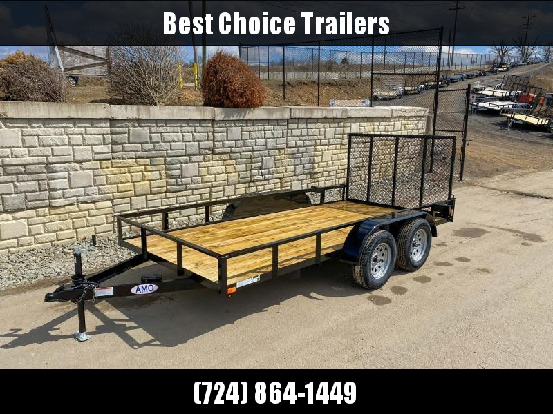 """USED 2021 AMO 76x14' Angle Iron Utility Landscape Trailer 7000# GVW * 4"""" CHANNEL TONGUE * RADIAL TIRES * TUBE GATE C/M * BRAKES ON BOTH AXLES * LED LIGHTS * D-RINGS"""
