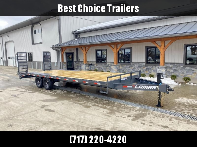 """2021 Lamar 102x20' Beavertail Deckover Trailer 14000# GVW * DELUXE OVERWIDTH RAMPS W/ MESH FACE + SPRING ASSIST  * CHARCOAL * TOOL TRAY * HD COUPLER * I-BEAM FRAME * 16"""" O.C. C/M * RUBRAIL/STAKE POCKETS/PIPE SPOOLS * CHANNEL SIDE RAIL * 4X8"""" TUBE BUMPER *"""