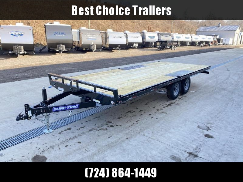 2021 Sure-Trac 102x20 Flatbed Deckover Trailer 9900# GVW * 8' SLIDE IN PUNCH PLATE RAMPS * TUBE SIDE RAIL + CROSSMEMBERS * RUBRAIL/STAKE POCKETS/D-RINGS * SPARE MOUNT * ADJUSTABLE COUPLER * DROP LEG JACK