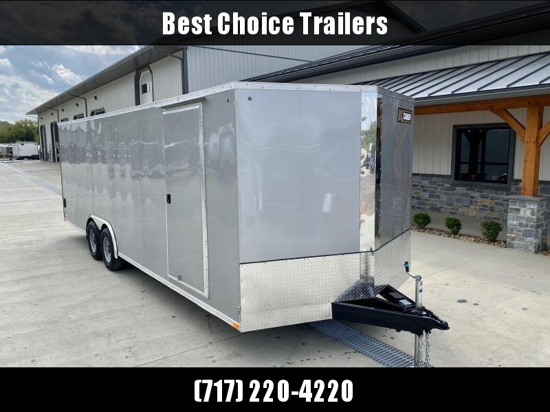 "2021 ITI Cargo 8.5x24 Enclosed Car Hauler Trailer 9900# GVW * SILVER EXTERIOR * .030 SEMI-SCREWLESS * RV DOOR * 1 PC ROOF * 3/8"" WALLS * 3/4"" FLOOR * PLYWOOD * TRIPLE TUBE TONGUE * 6'6"" INTERIOR * 24"" STONEGUARD * HIGH GLOSS PAINTED FRAME * D-RINGS"