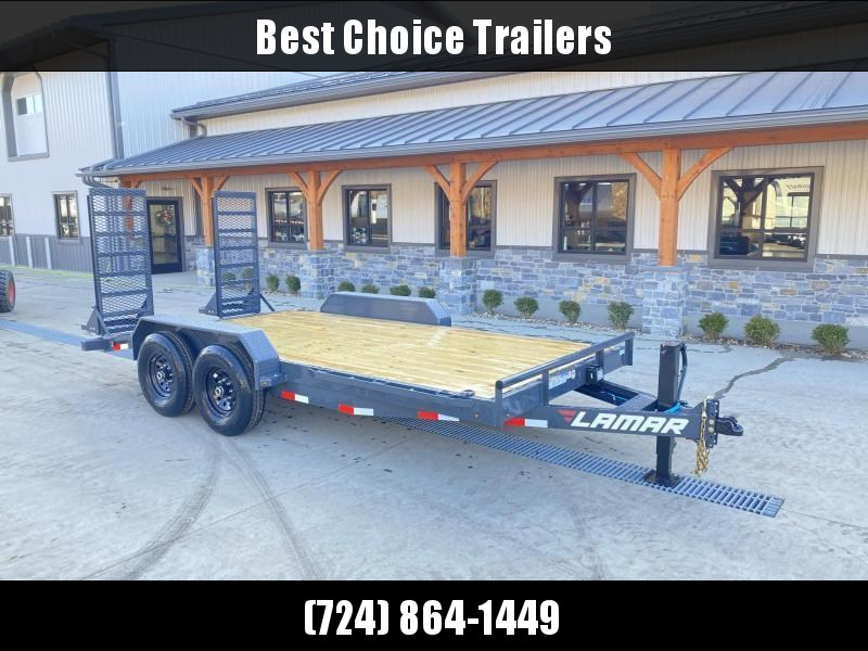 2021 Lamar 7x16' Equipment Trailer 14000# GVW * DELUXE OVERWIDTH RAMPS W/ HEAVY MESH * CHARCOAL POWDERCOAT * RUBRAIL/STAKE POCKETS/PIPE SPOOLS/D-RINGS * REM FENDERS * 12K JACK * CAST COUPLER * SPRING ASSIST * COLD WEATHER HARNESS * DIA PLATE DOVETAIL * CL