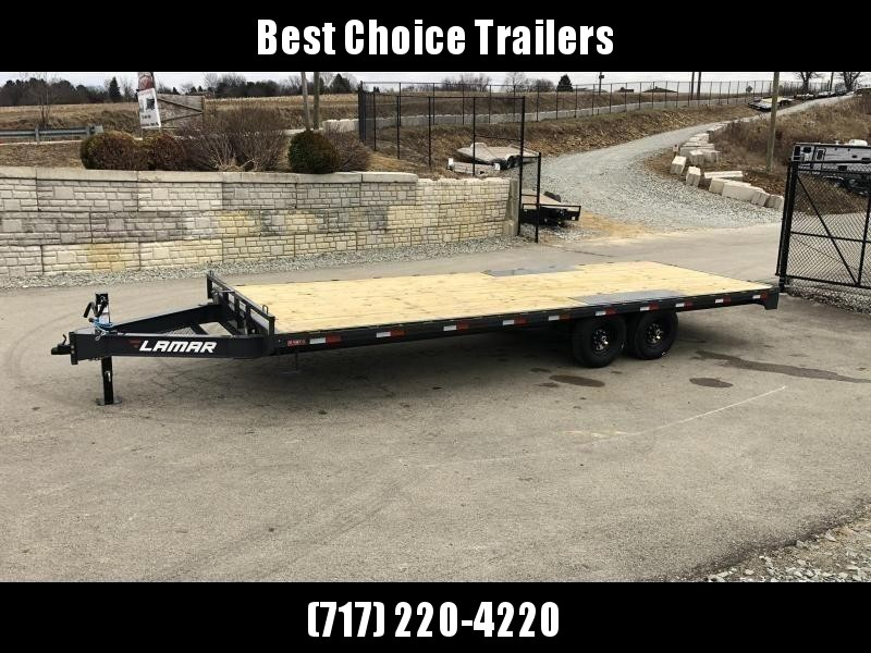 """2021 Lamar 102x20' Flatbed Deckover Trailer 14000# GVW * 8' SLIDE IN RAMPS * CHARCOAL * TOOL TRAY * HD CAST COUPLER * I-BEAM FRAME * 16"""" O.C. C/M * RUBRAIL/STAKE POCKETS/PIPE SPOOLS * CHANNEL SIDE RAIL * 12K JACK"""